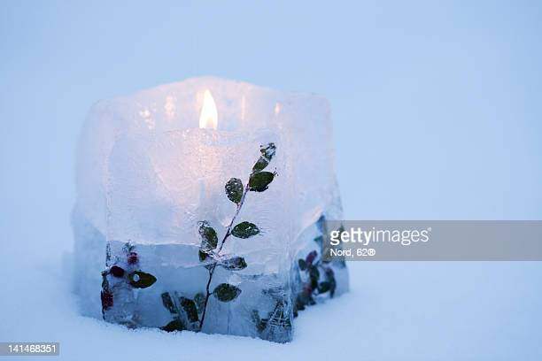 Ice candle with leaves