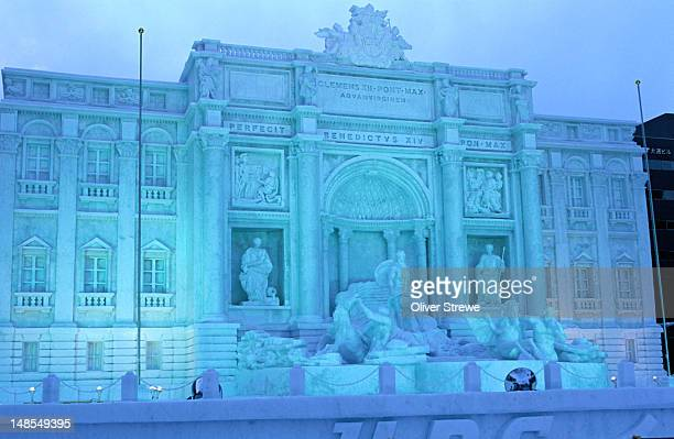 ice carvings for the annual sapporo snow festival or yuki matsuri. the snow festival is held over a 2 week period every february. - snow festival stock pictures, royalty-free photos & images