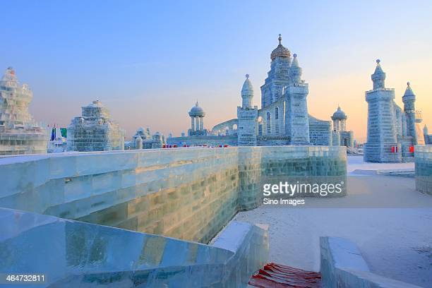 ice castles in harbin ice and snow wonderland - harbin stock pictures, royalty-free photos & images