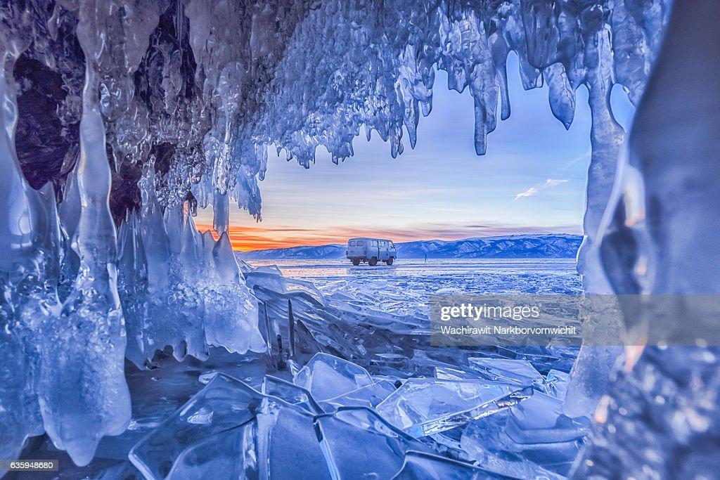 Ice Cave at Baikal Lake, Russia : Stock Photo
