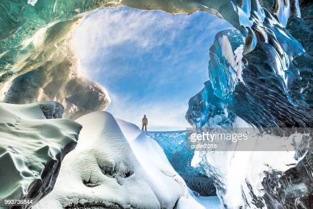 ice cave - breidamerkurjokull - south east iceland - cave stock pictures, royalty-free photos & images