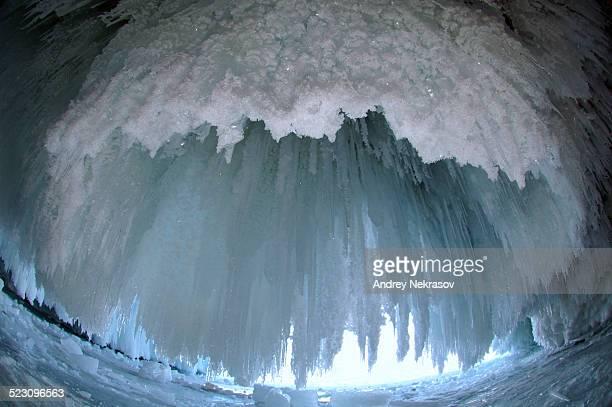 Ice cave on Olkhon island, Lake Baikal, Siberia, Russia, Eurasia
