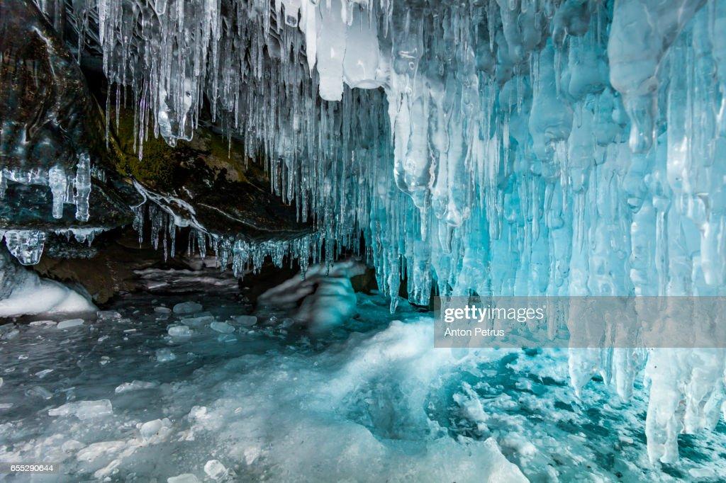 Ice cave on the Baikal : Stock Photo