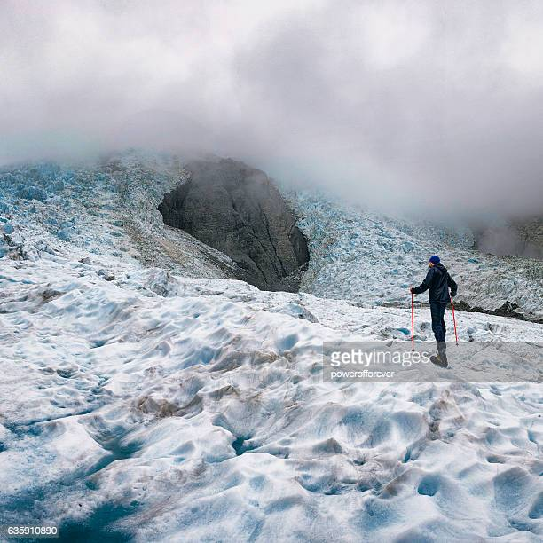 Ice Climber on Franz Josef Glacier in New Zealand