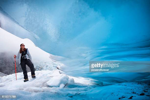 Ice climber on Franz Josef Glacier, New Zealand