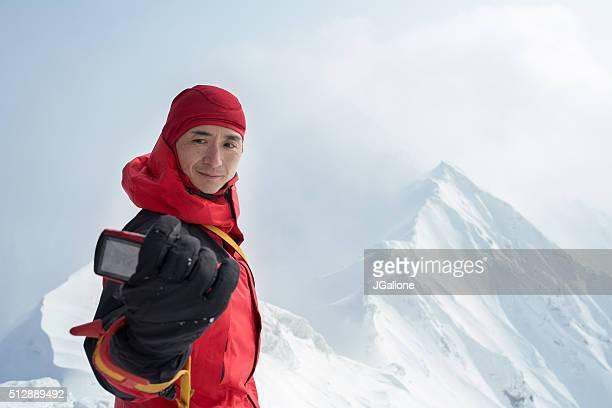氷 クライマーズハイで自分撮りに、サミット
