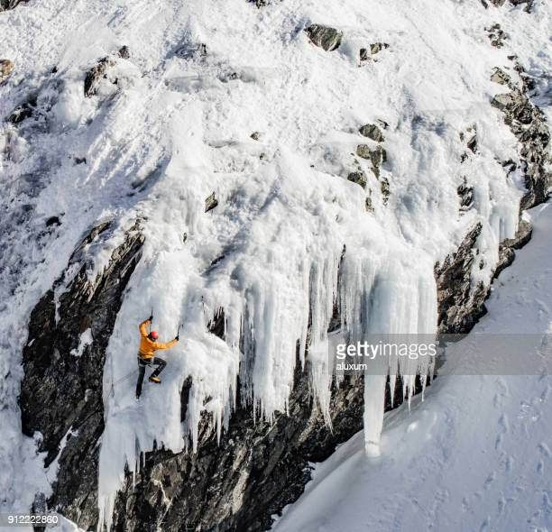 ice climbing in the pyrenees - danger stock photos and pictures