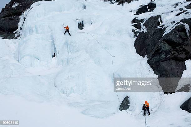 Ice climbing on Huntington's Ravine on Mt. Washington in the White Mountains of New Hampshire.