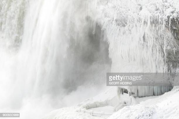 TOPSHOT Ice coats the rocks and observation deck at the base of the Horseshoe falls in Niagara Falls Ontario on January 3 2018 The cold snap which...