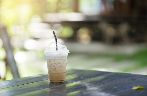 Ice coffee with Green background and bokeh - gettyimageskorea