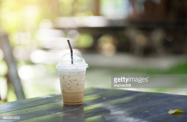Ice coffee with Green background and bokeh