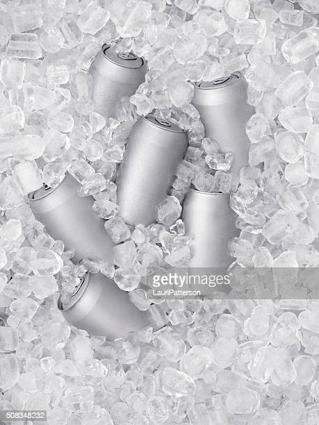 ice cold beer on ice - tin can stock pictures, royalty-free photos & images