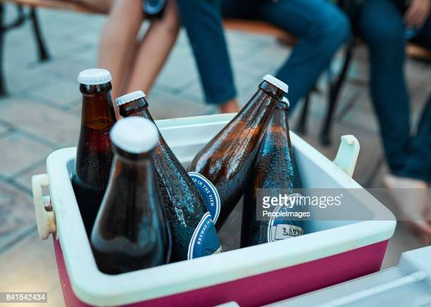 ice cold beers all party long - esky stock photos and pictures