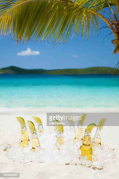 ice cold beers with limes under the palm tree