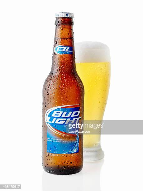 ice cold bottle of bud light - bud light stock pictures, royalty-free photos & images