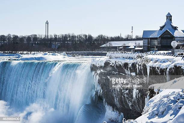 Ice cover much of a nearly frozen Niagara Falls on February 20 2015 in Niagara Falls Ontario Canada Much of the United States and Canada are...
