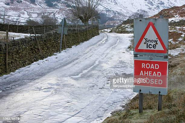ice covered country lane in the lake district, cumbria, uk - weather stock pictures, royalty-free photos & images