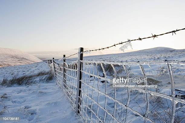 Ice covered fence on Pen y Fan mountain, Brecon Beacons National Park, Powys, Wales, United Kingdom, Europe