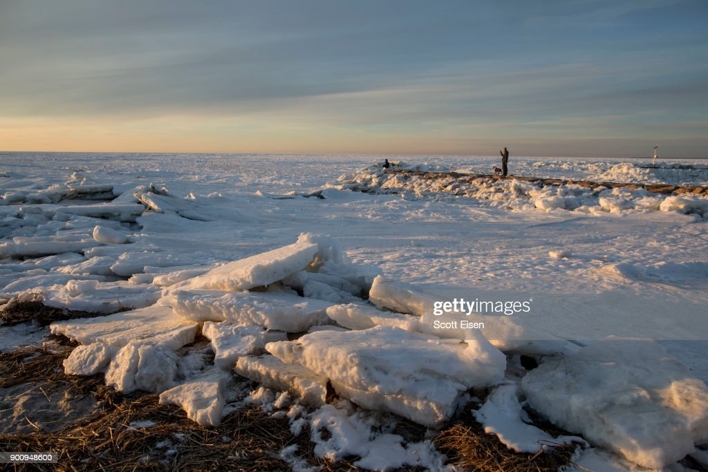 Ice covers a large part of Cape Cod Bay near Rock Harbor on January 3, 2018 in Orleans, Massachusetts. A winter storm is hitting the east coast from Florida to New England bringing snow and frigid temperatures.