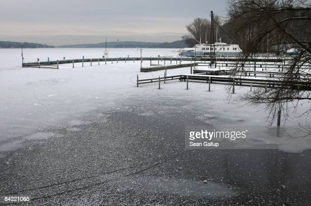 Ice covers frozen Wannsee lake on January 9 2008 in Berlin Germany Germany continues to deal with frigid cold that has brought temperatures down to...