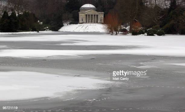 Ice covers the lake at the National Trust's Stourhead near Warminster on January 12 2010 in Wiltshire England Much of UK is still experiencing...