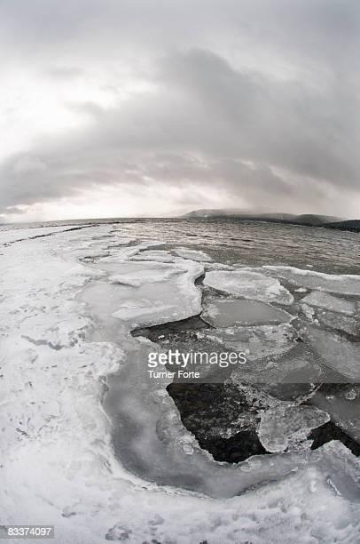 Ice cracks on the shore of Lake Tahoe.