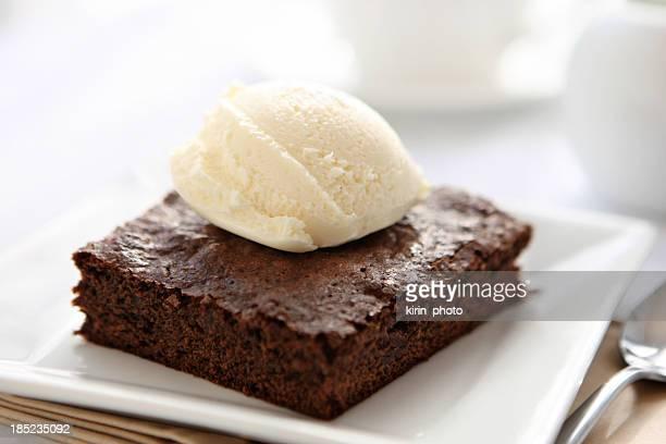 Ice cream and brownie