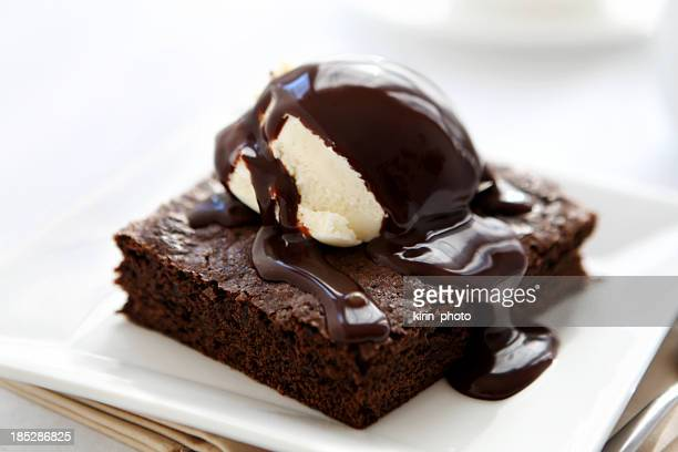ice cream and brownie - fudge stock photos and pictures
