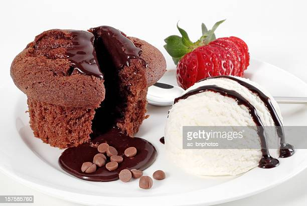 Ice cream and chocolate cake