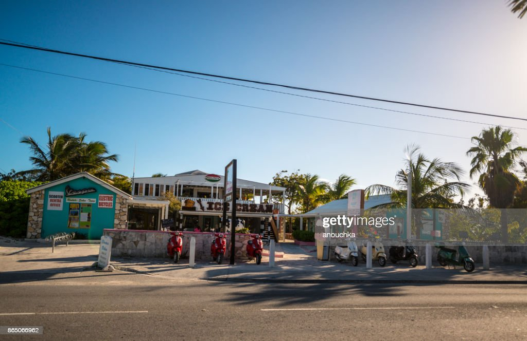 Ice cream and scooter rental near The Regent Village, Turks and Caicos Islands : Stock Photo