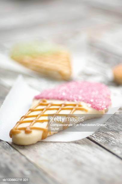 Ice cream cone cookies, close-up (differential focus)