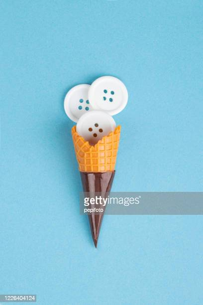 ice cream cone - button sewing item stock pictures, royalty-free photos & images