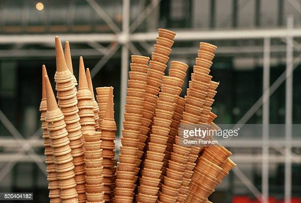 ice cream cone stack in paris - centre pompidou stock pictures, royalty-free photos & images