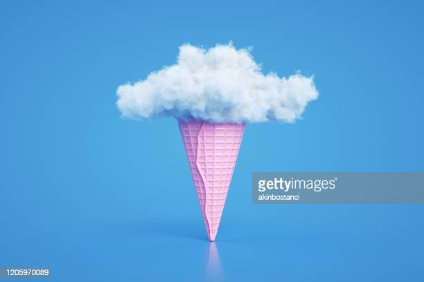 ice cream cone with cloud, minimal surreal summer concept, 3d abstract background - three dimensional stock pictures, royalty-free photos & images