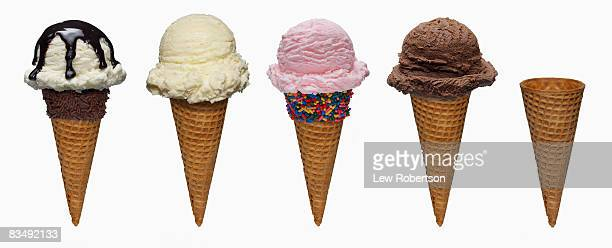 ice cream cones on white - ice cream cone stock pictures, royalty-free photos & images