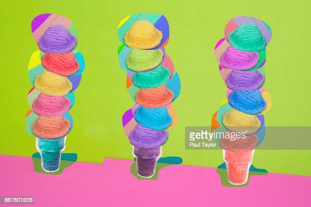 Ice Cream Cones with Many Flavors