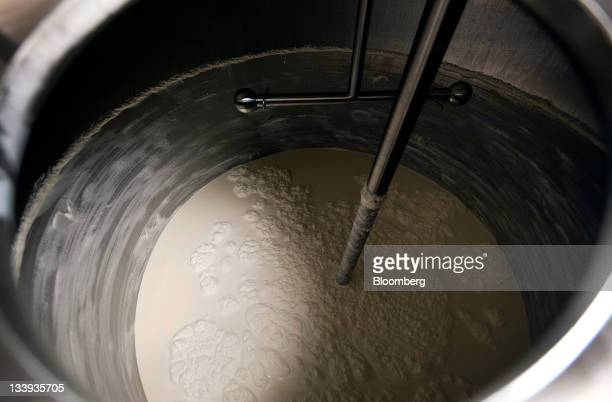 Ice cream dry mix is combined with milk cream and sugar at Turkey Hill LP's production facility in Contestoga Pennsylvania US on Monday Nov 21 2011...