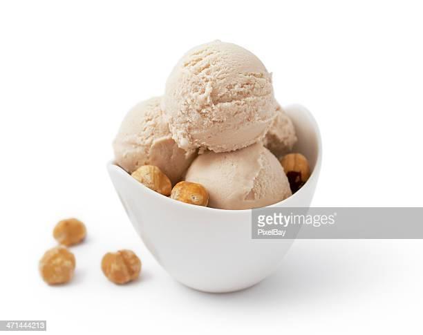 gelato di nocciola - gelato italiano foto e immagini stock