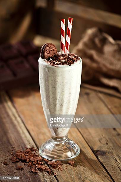 Ice cream milkshake with cookie and crumbs