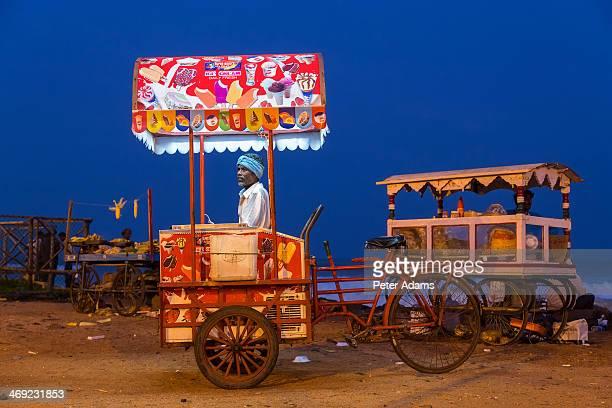 Ice cream seller on the beach at dusk, Pondicherry