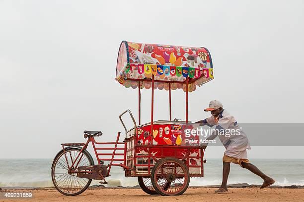 Ice cream seller on the beach, Pondicherry, India