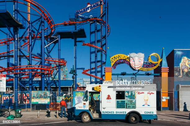 Ice Cream truck in the amusement park in Coney Island, Brooklyn, New York City, NY, USA