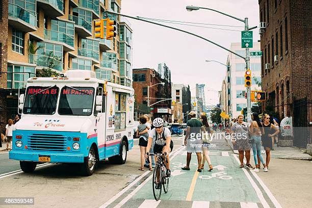 ice cream truck in williamsburg brooklyn new york - williamsburg new york city stock pictures, royalty-free photos & images