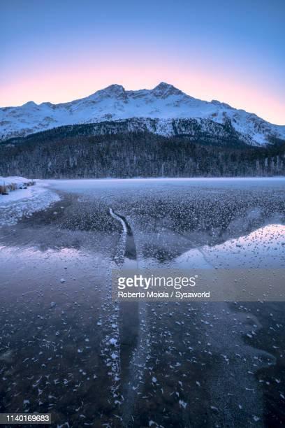 ice crystals, lake champfer, switzerland - kanton graubünden stock-fotos und bilder