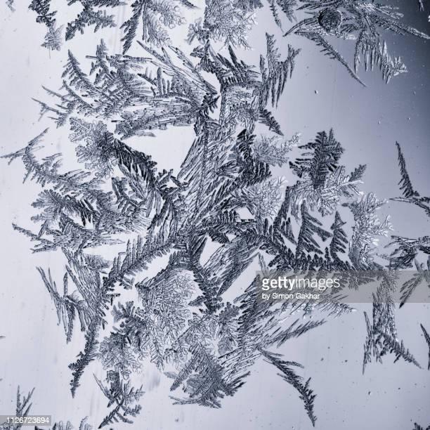 ice crystals on glass - getönt stock-fotos und bilder