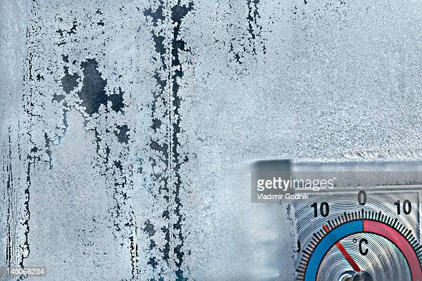 Ice crystals on window and temperature gauge