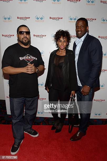 Ice Cube and Dwyane Wade Sr attends Barbershop The Next Cut Screeningat Regal South Beach on March 22 2016 in Miami Florida