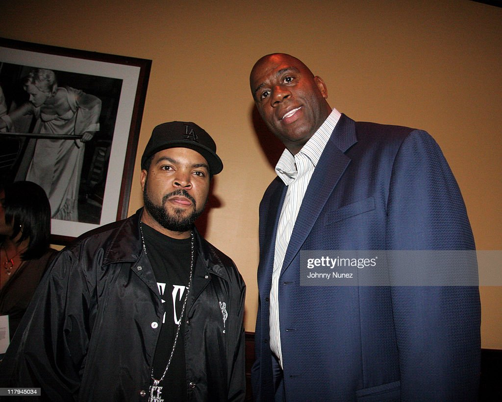Ice Cube and Earvin 'Magic' Johnson during Boost Mobile Presents ZO and Magic's 8 Ball Challenge Celebrity Pool Tournament at Jillian's of Houston in Houston, Texas, United States.