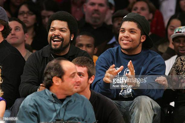 Ice Cube and his son Oshea Jackson Jr. Attend the Los Angeles Lakers against Phoenix Suns game at the Staples Center on December 25, 2007 in Los...
