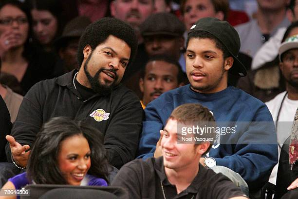 Ice Cube and his son Oshea Jackson Jr attend the Los Angeles Lakers against Phoenix Suns game at the Staples Center on December 25 2007 in Los...